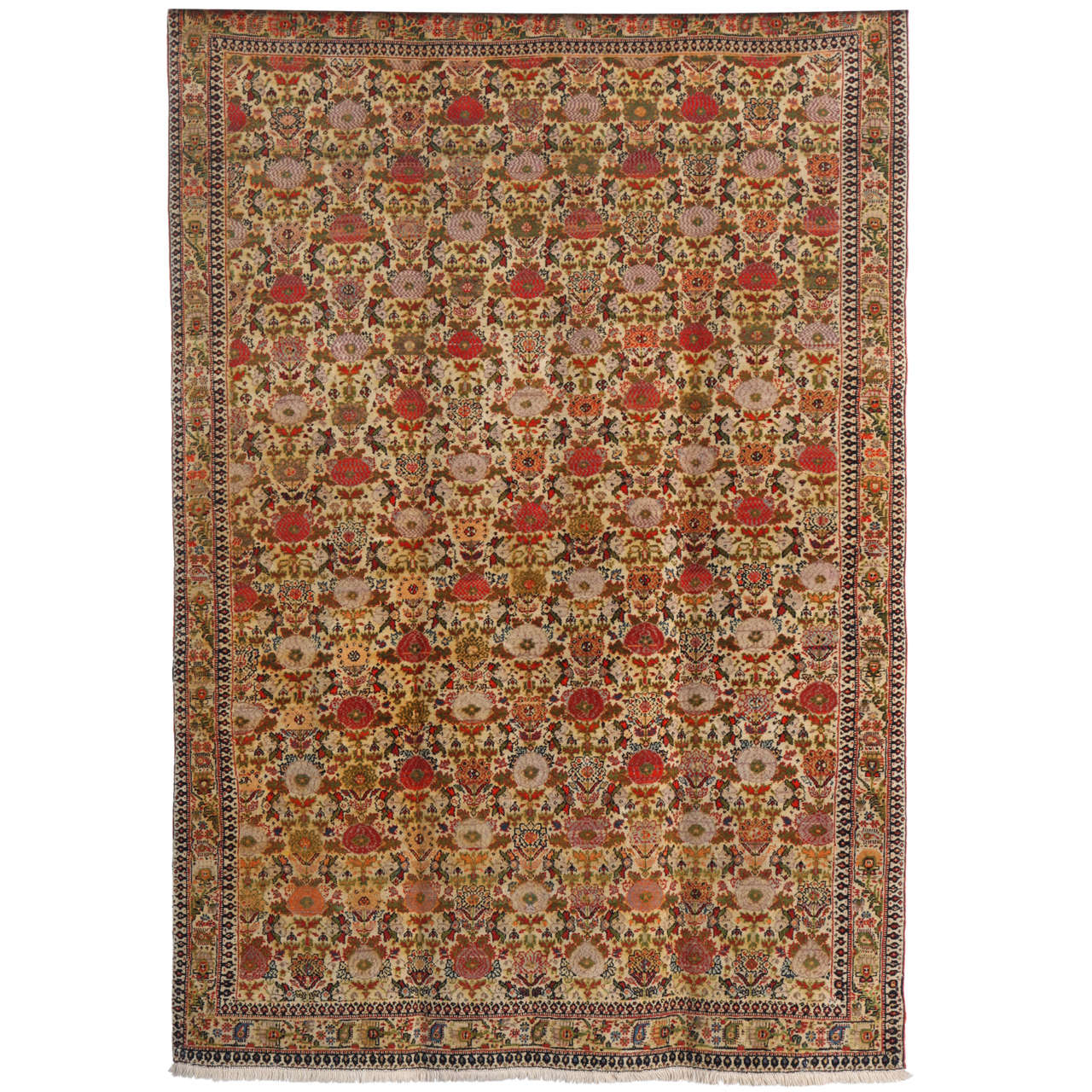 Persian Mishan Malayer Carpet with Wool Pile and Vegetable Dyes, circa 1890 For Sale