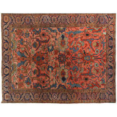Persian Heriz Serapi Carpet circa 1910 with Handspun Wool and Organic Dyes