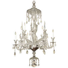 Antique Adam Style Cut Crystal Nine Light Chandelier, c.1900