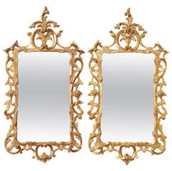 Antique Pair Chippendale Carved Giltwood Mirrors, c.1765