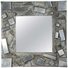 Fantastic 1970s Cast Aluminium Mirror Signed Martens