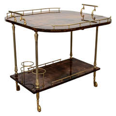 Mid Century Aldo Tura Lacquered Bar Cart with Fold-up Sides
