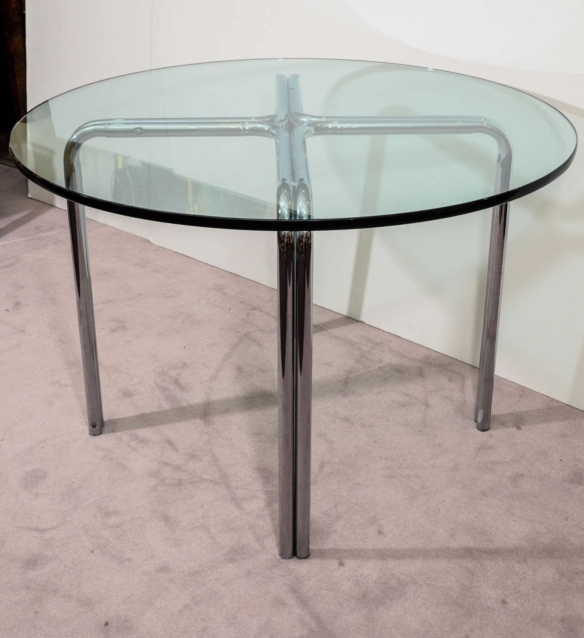 Century Dining Table With Circular Glass Top And Chrome Base Image 2