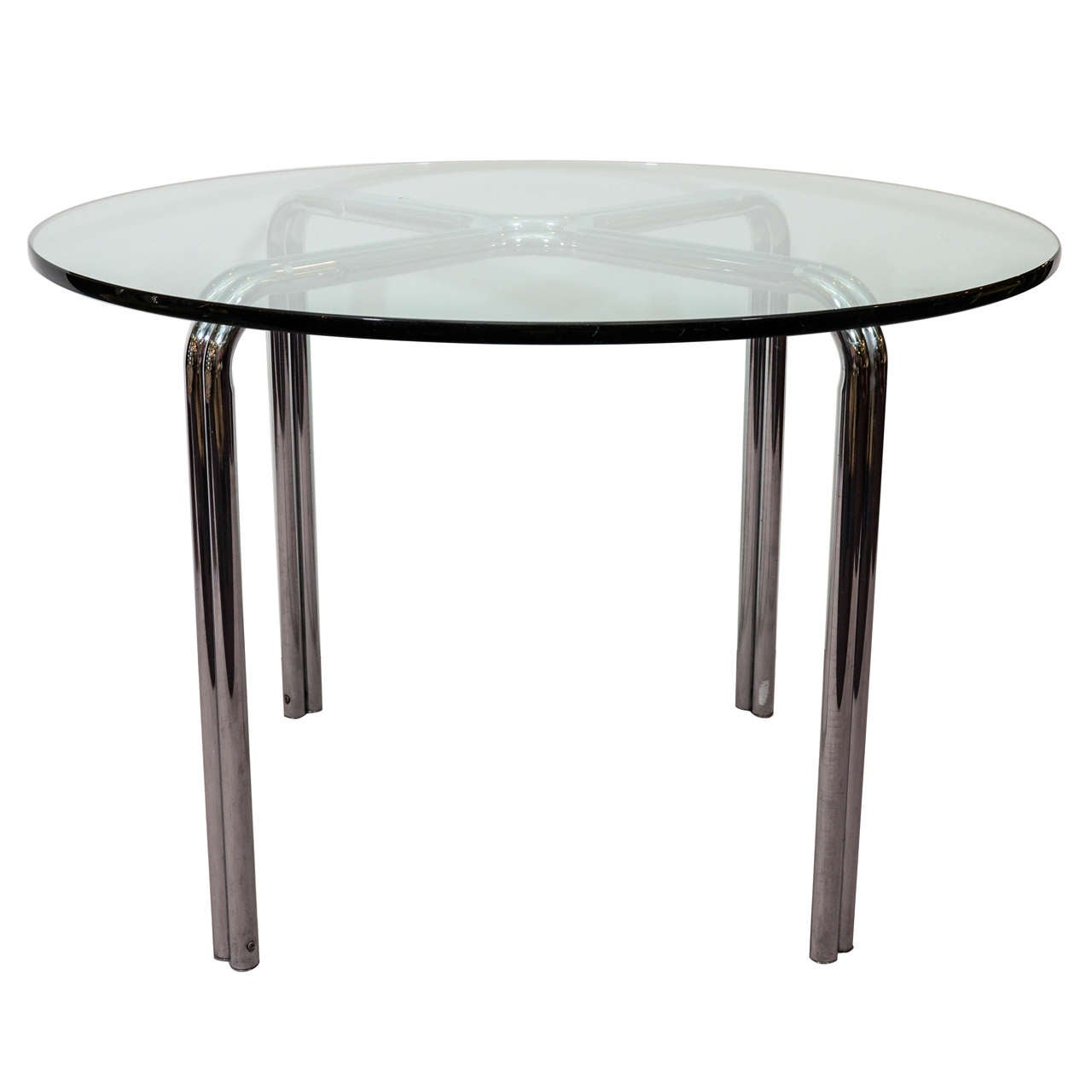 Mid Century Dining Table With Circular Glass Top And Chrome Base At