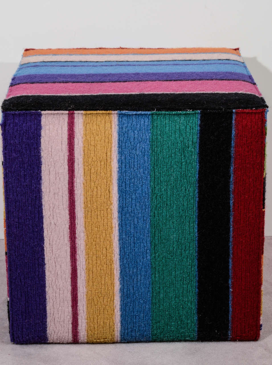 Vintage Multi Colored Cube Shaped Pouf By Missoni At 1stdibs