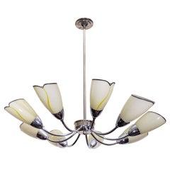 Vintage Nine-Light Glass and Brass Chandelier w/ Tulip Shades