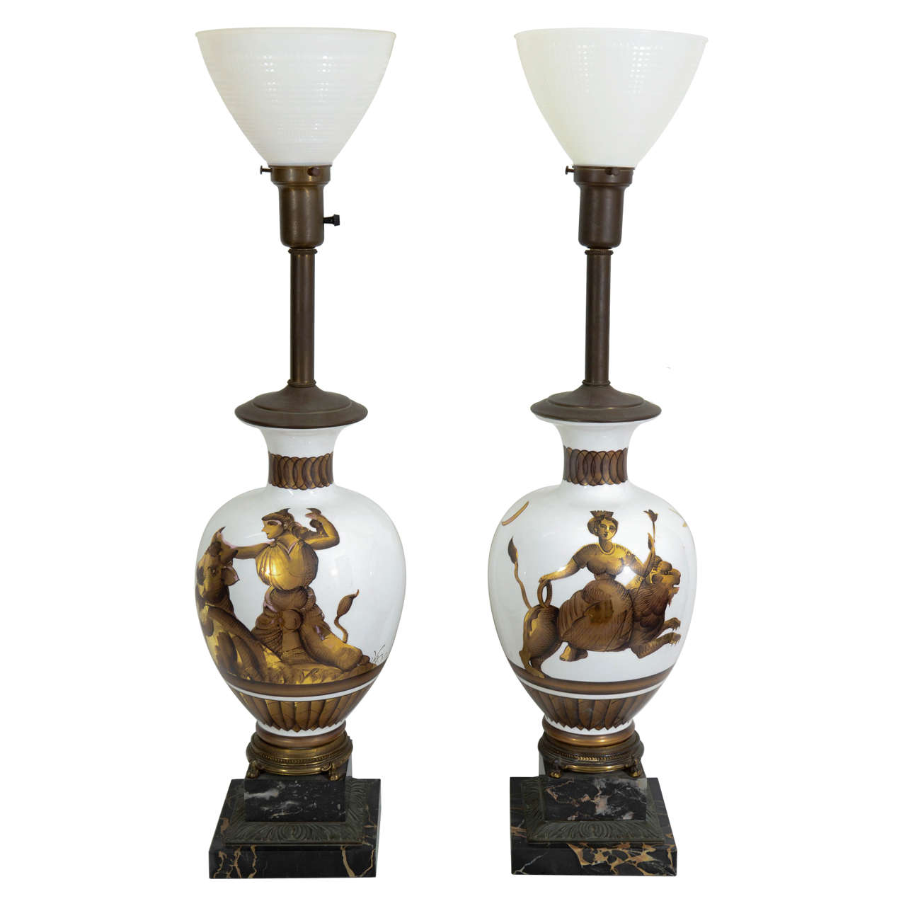 A Midcentury Pair of Tommi Parzinger Classical Motif Lamps