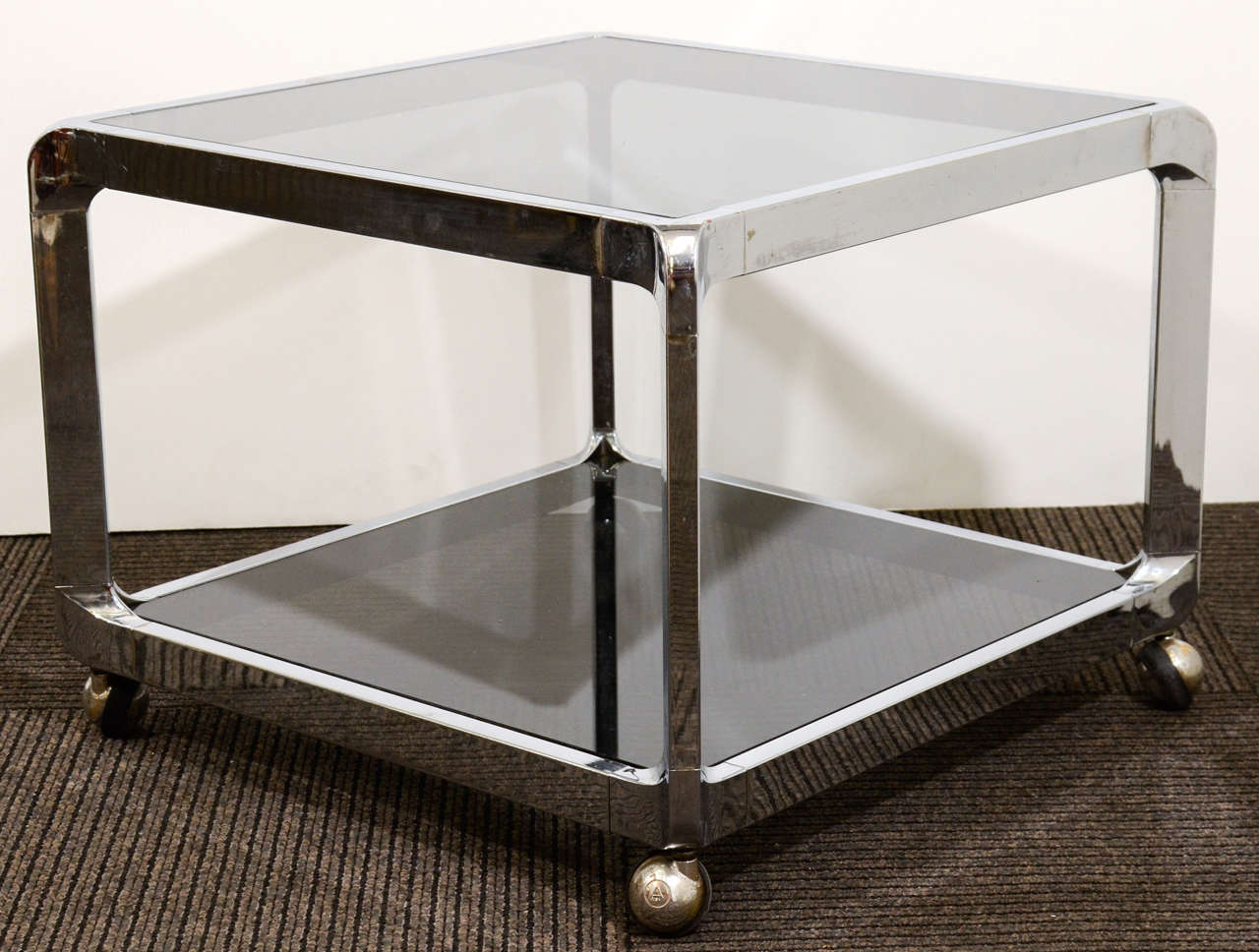 Mid Century Chrome And Glass Two Tier Side Table With Casters At 1stdibs