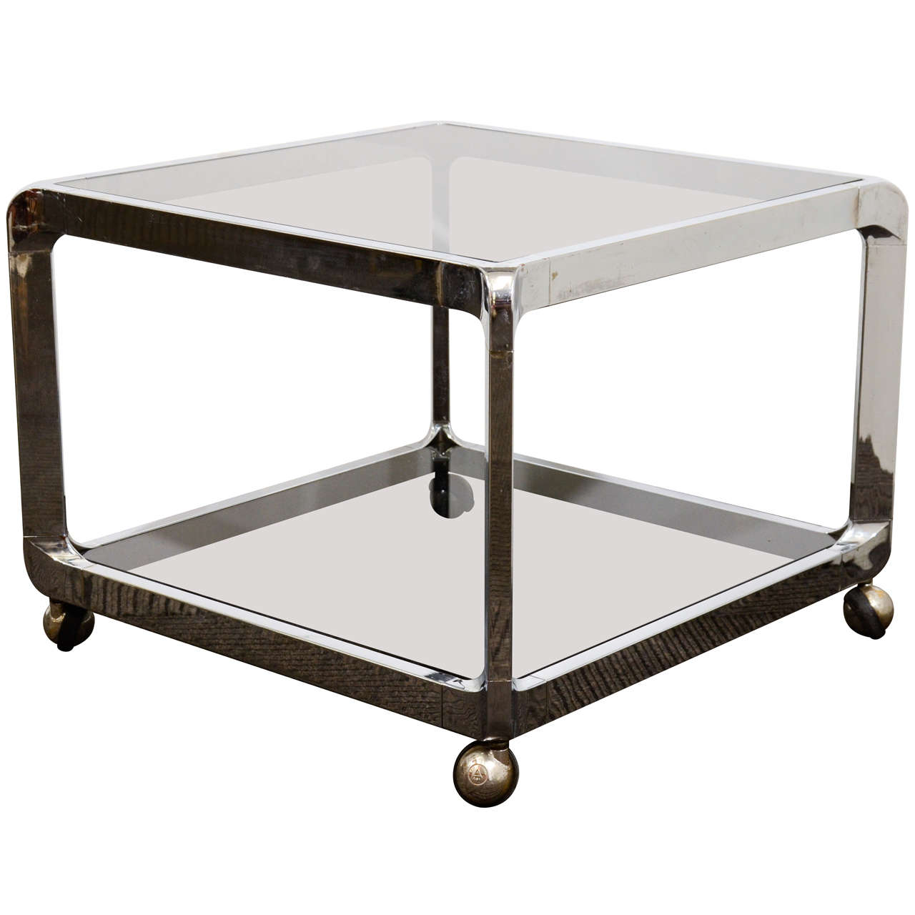 Modern Glass Coffee Table With Wheels: Mid Century Chrome And Glass Two-Tier Side Table With