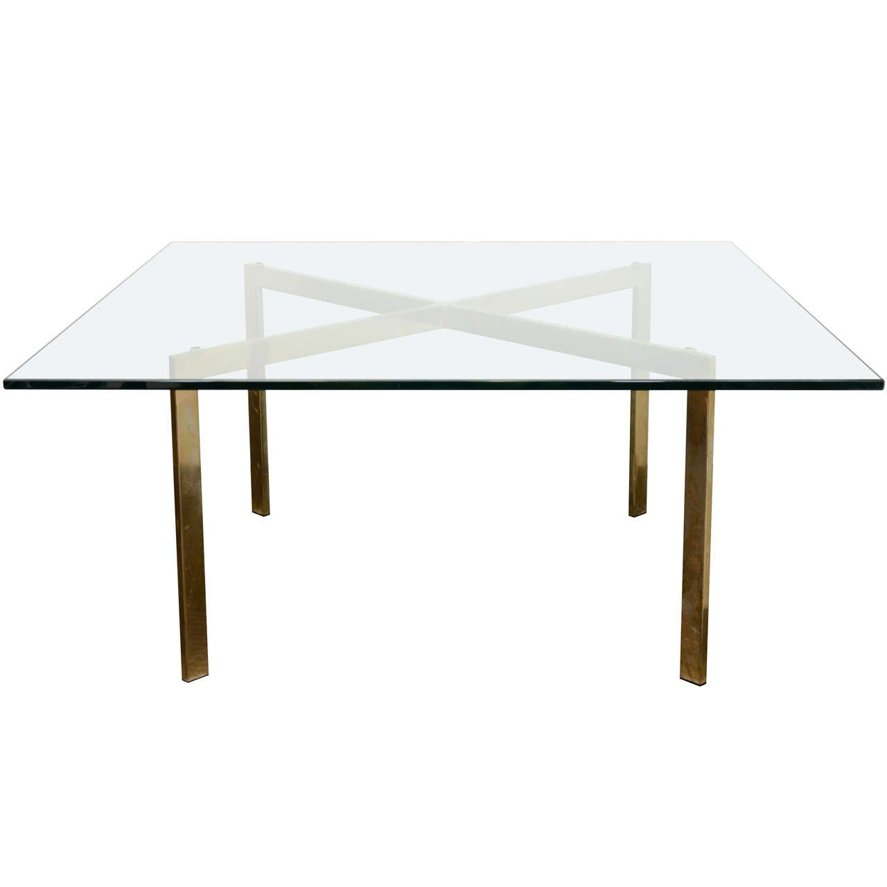 Mid Century X Base Coffee Table In Brass And Glass At 1stdibs