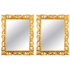 A Pair of Early 20th Century Italian Gilt Wood Mirrors