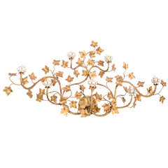Mid Century Sculptural Floral Gold Leaf Five Light Wall Sconce