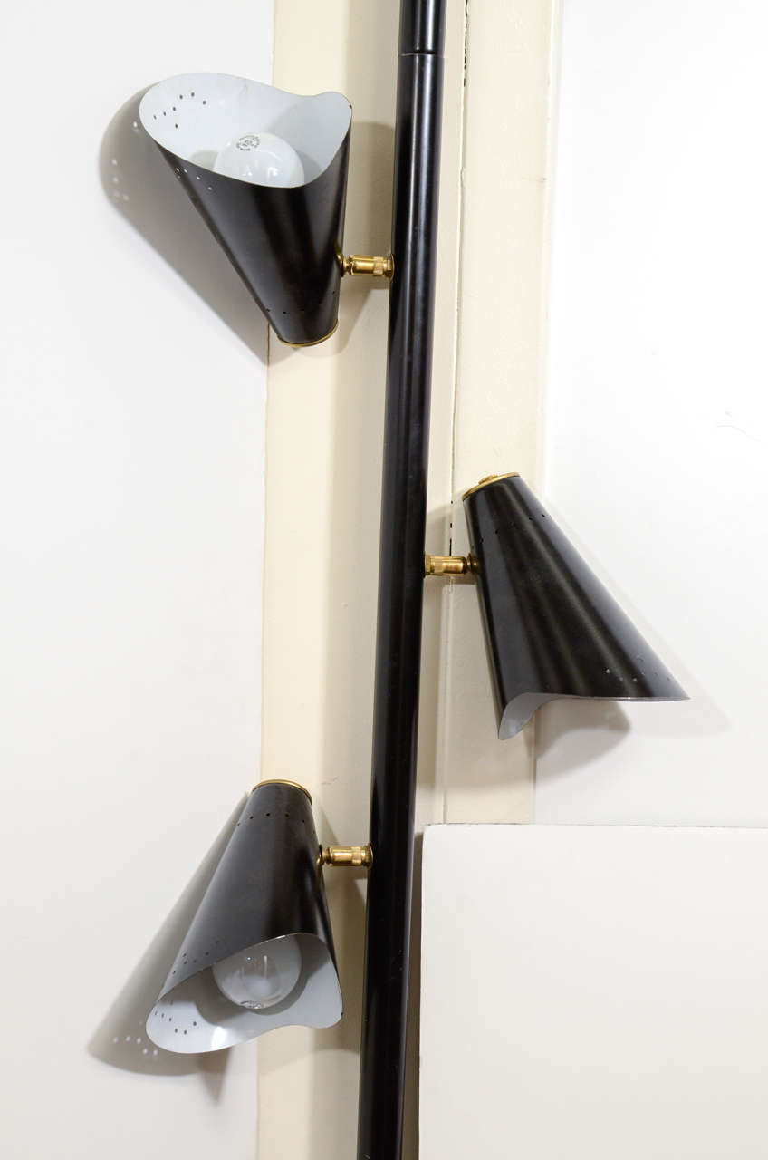 three light pole lamp with black enamel shades for sale at 1stdibs. Black Bedroom Furniture Sets. Home Design Ideas