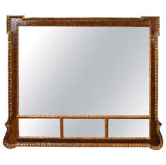 George III Style Carved Wood Frame with Gilt Details.