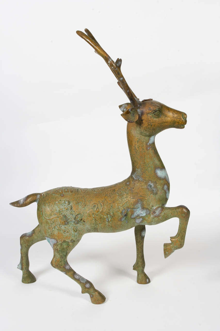 Chinese Bronze Deer Statue For Sale