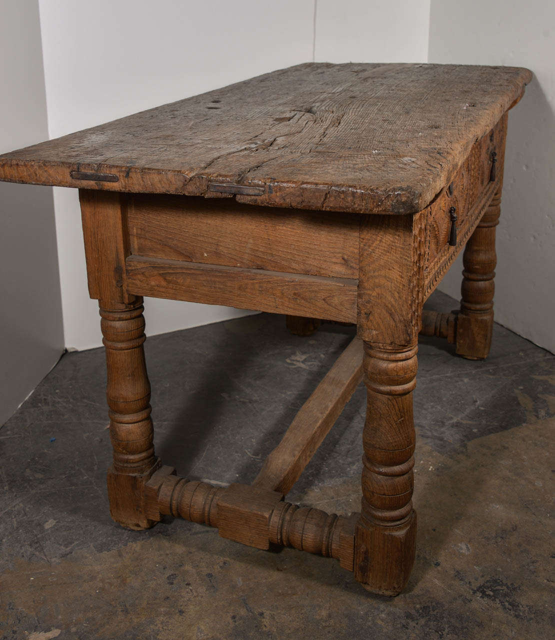 17th Century Rustic Pine Spanish Console Table 2