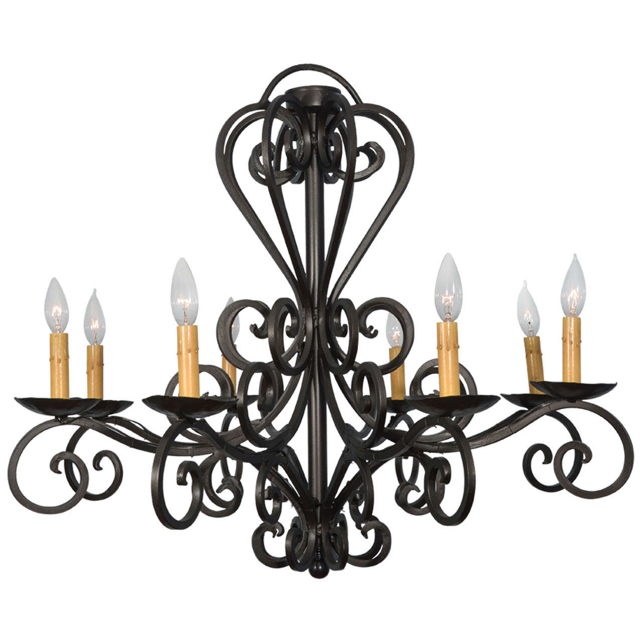 Hand Wrought Iron Spanish Eight Light Chandelier At 1stdibs