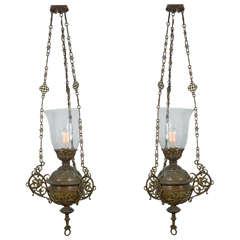 Pair of Cast Bronze Ceremonial Lanterns