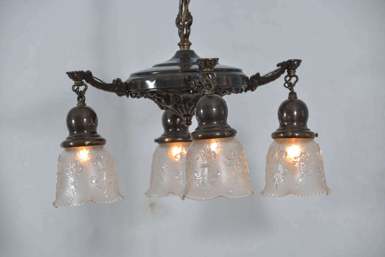 Four light art nouveau pan fixture at 1stdibs for Art nouveau lighting fixtures