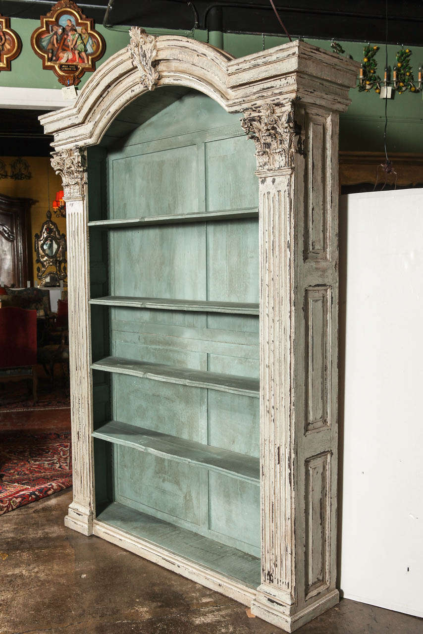 Pair of louis xiv french carved painted open bookcases for Armoire cuisine antique