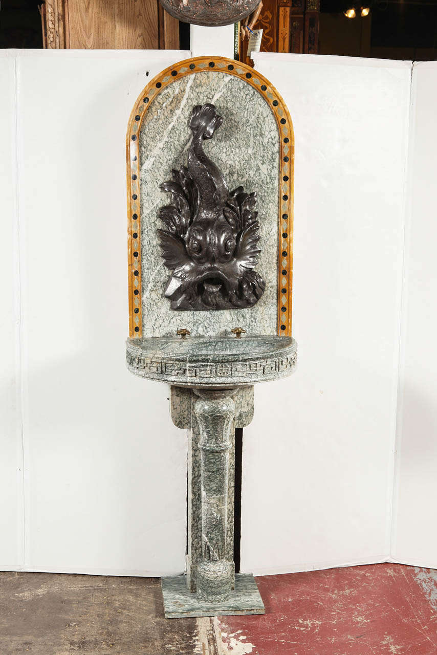 Hand-Carved 19th Century French Marble and Iron Fountain with Dolphin and Mosaic Decor For Sale