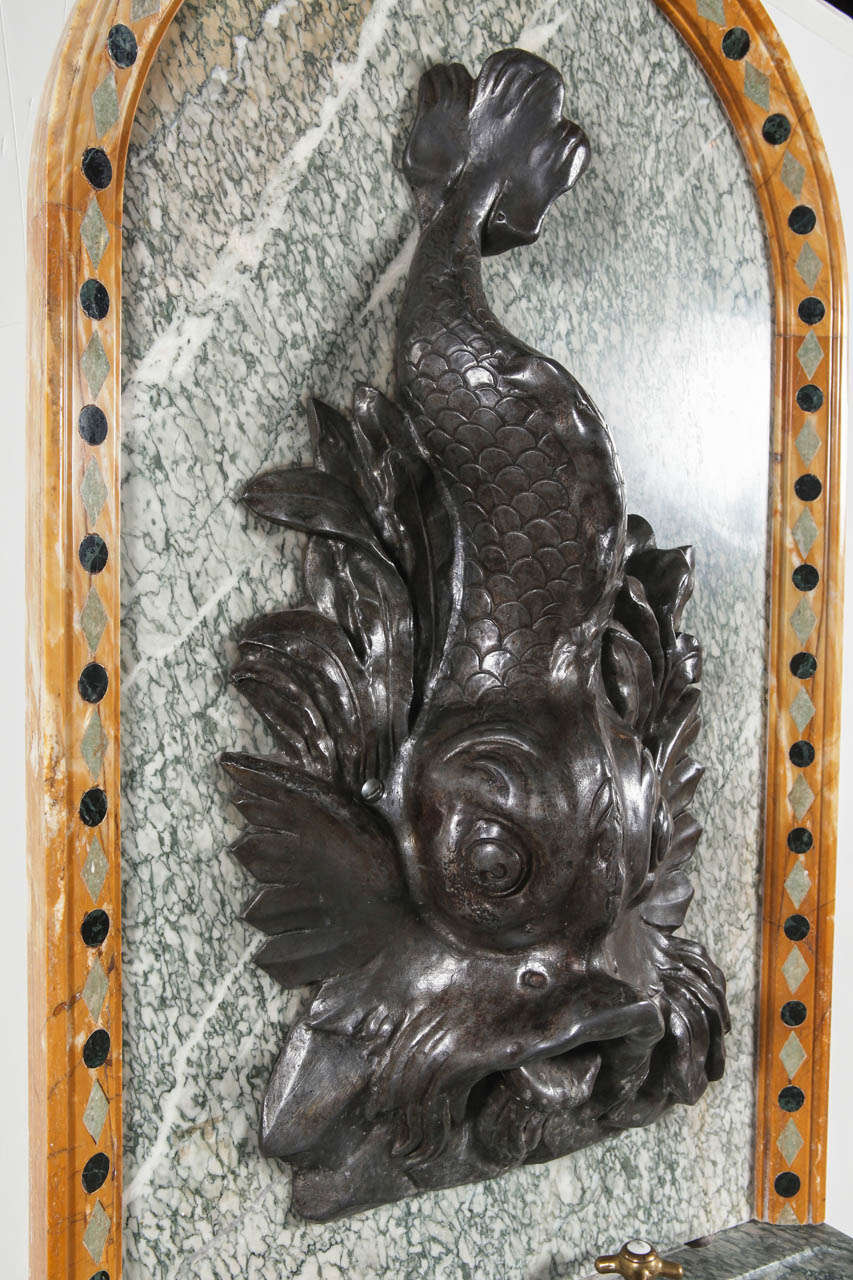19th Century French Marble and Iron Fountain with Dolphin and Mosaic Decor In Good Condition For Sale In Dallas, TX