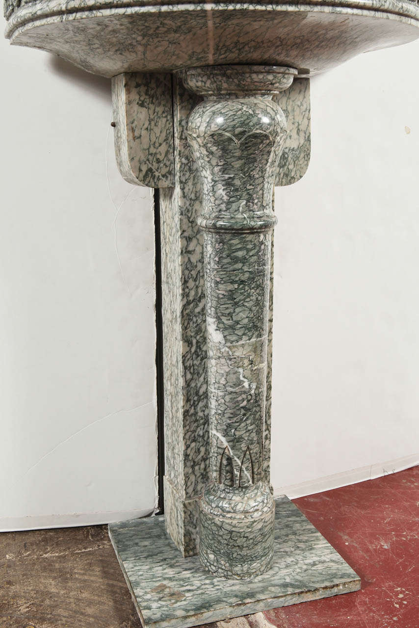 Brass 19th Century French Marble and Iron Fountain with Dolphin and Mosaic Decor For Sale