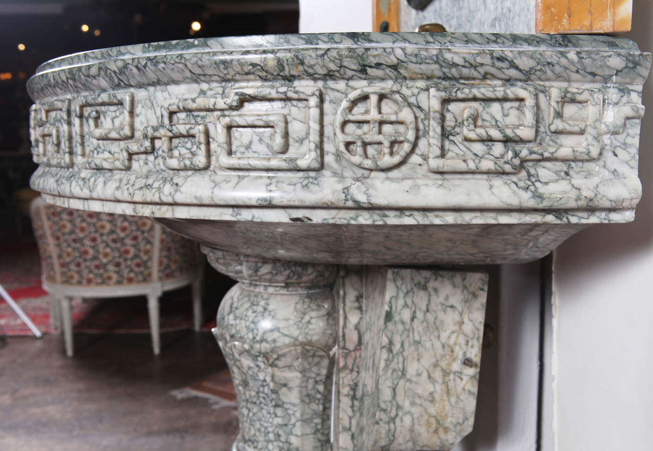19th Century French Marble and Iron Fountain with Dolphin and Mosaic Decor For Sale 4