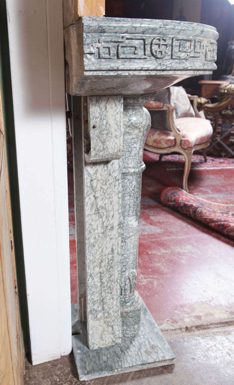 19th Century French Marble and Iron Fountain with Dolphin and Mosaic Decor For Sale 5