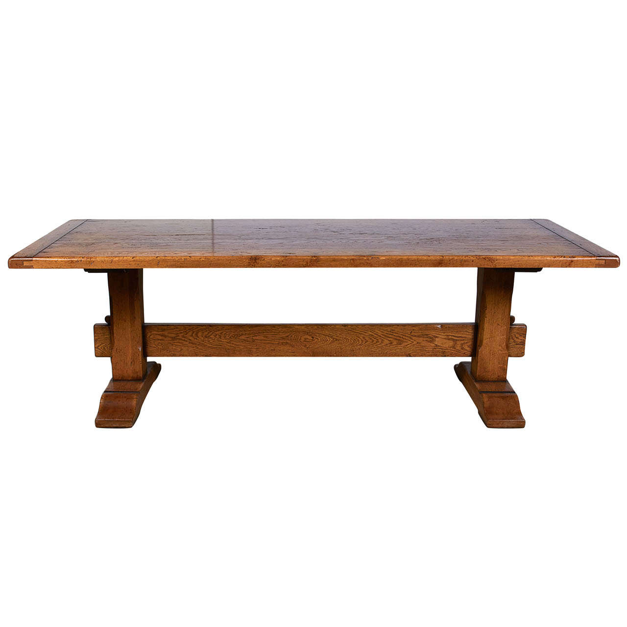Oak dining table with trestle supports at 1stdibs for Dining table support
