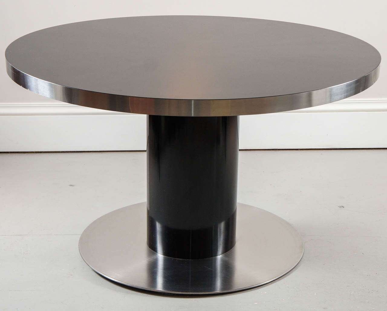 1970s Black Laminate And Brushed Steel Round Dining Table At 1stdibs