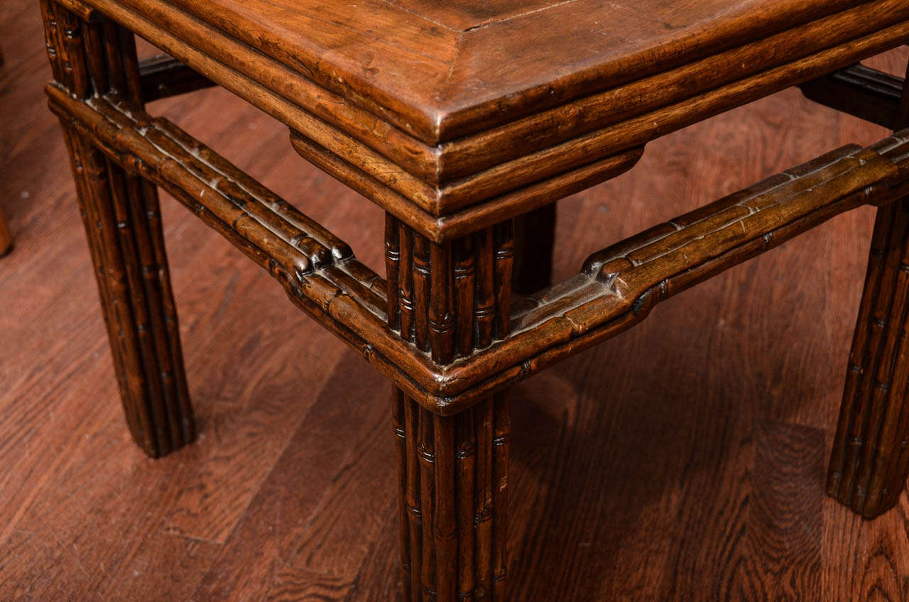 Turn of the Century Qing Dynasty Southern Elm Carved Faux Bamboo Stool In Excellent Condition For Sale In East Hampton, NY