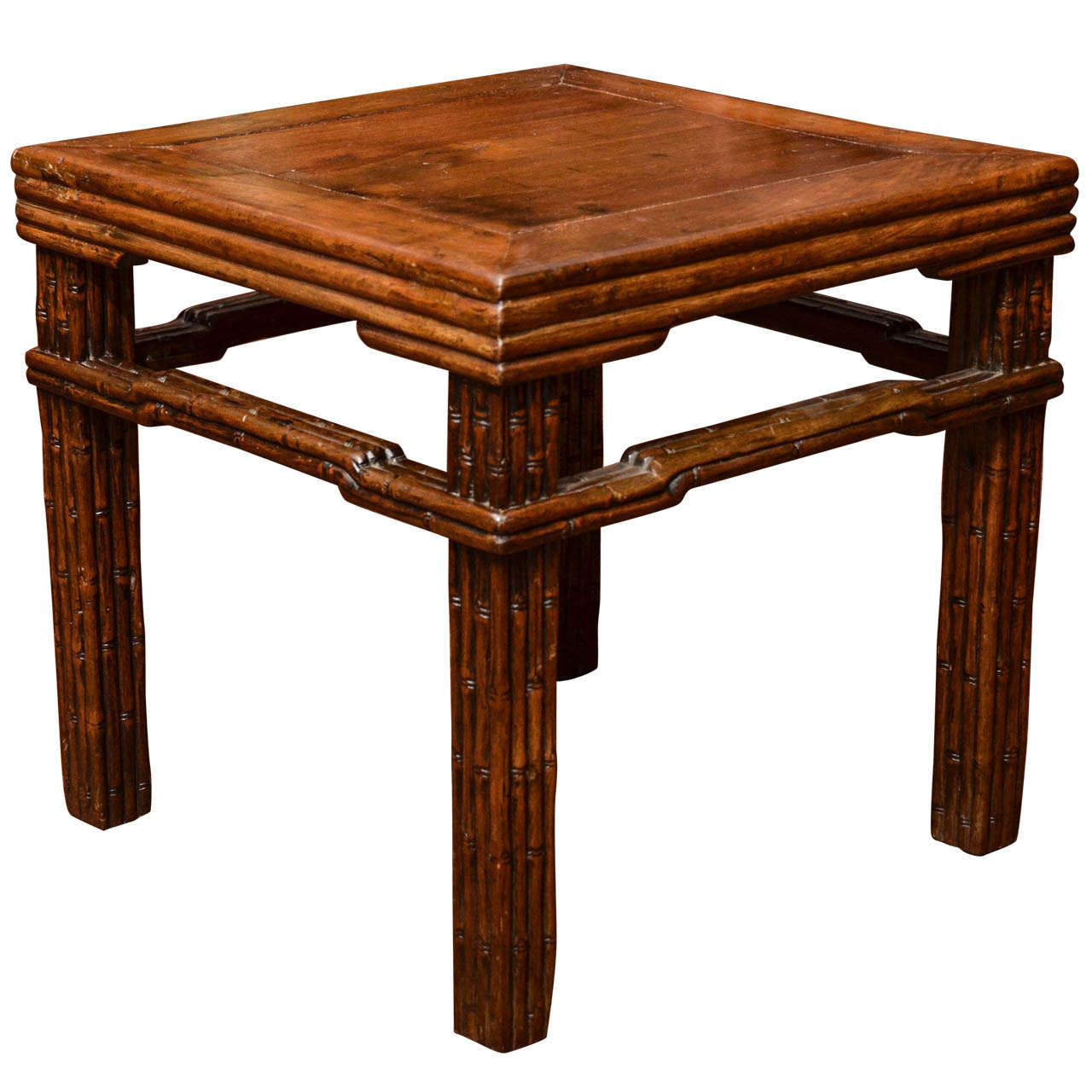 Turn of the Century Qing Dynasty Southern Elm Carved Faux Bamboo Stool For Sale