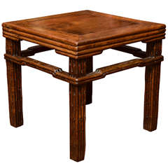 Turn of the Century Qing Dynasty Southern Elm Carved Faux Bamboo Stool