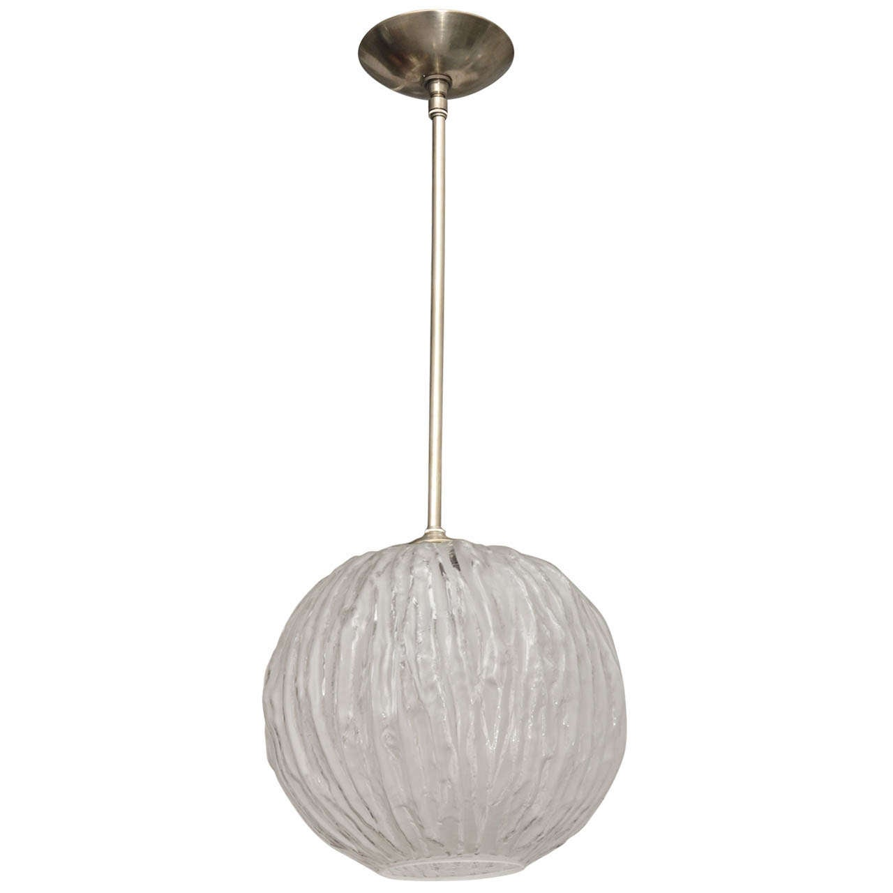 Frosted and clear murano glass pendant with vein pattern for sale at 1stdibs - Murano glass lighting ...