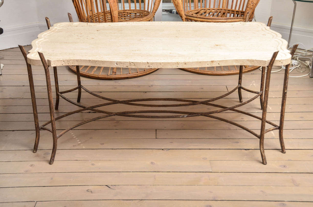 Good Faux Bois Iron Base Limestone Top Coffee Table With Scalloped Edge