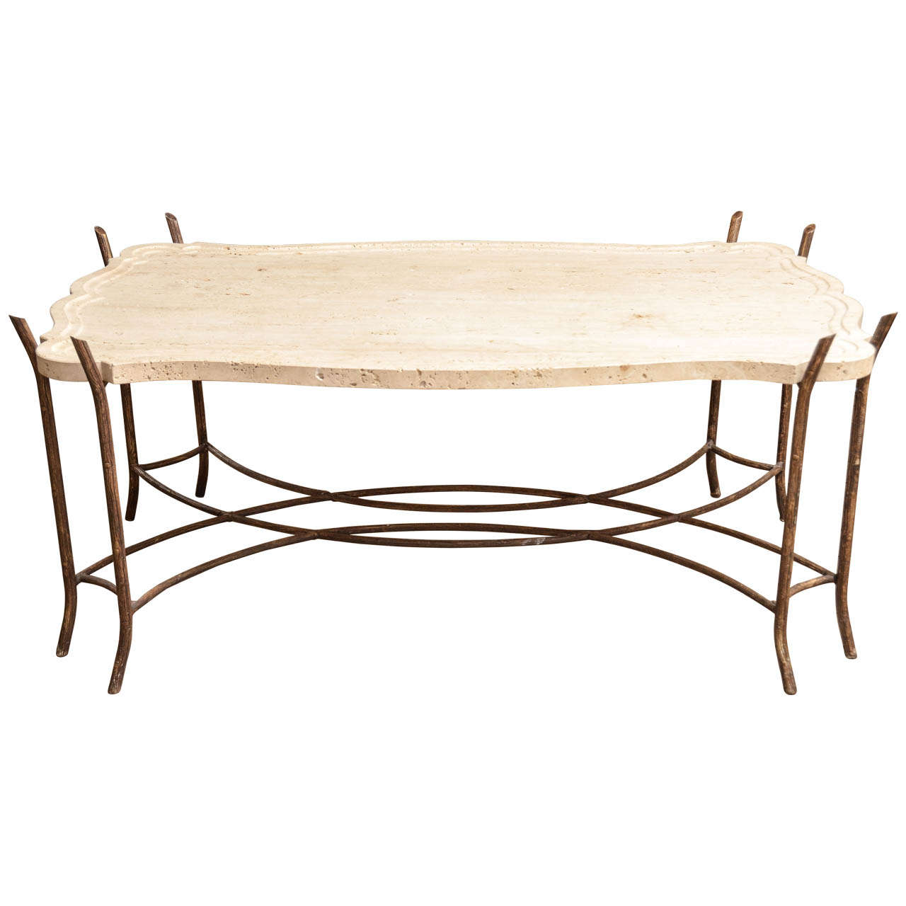 Iron Coffee Tables Faux Bois Iron Base Limestone Top Coffee Table With Scalloped Edge