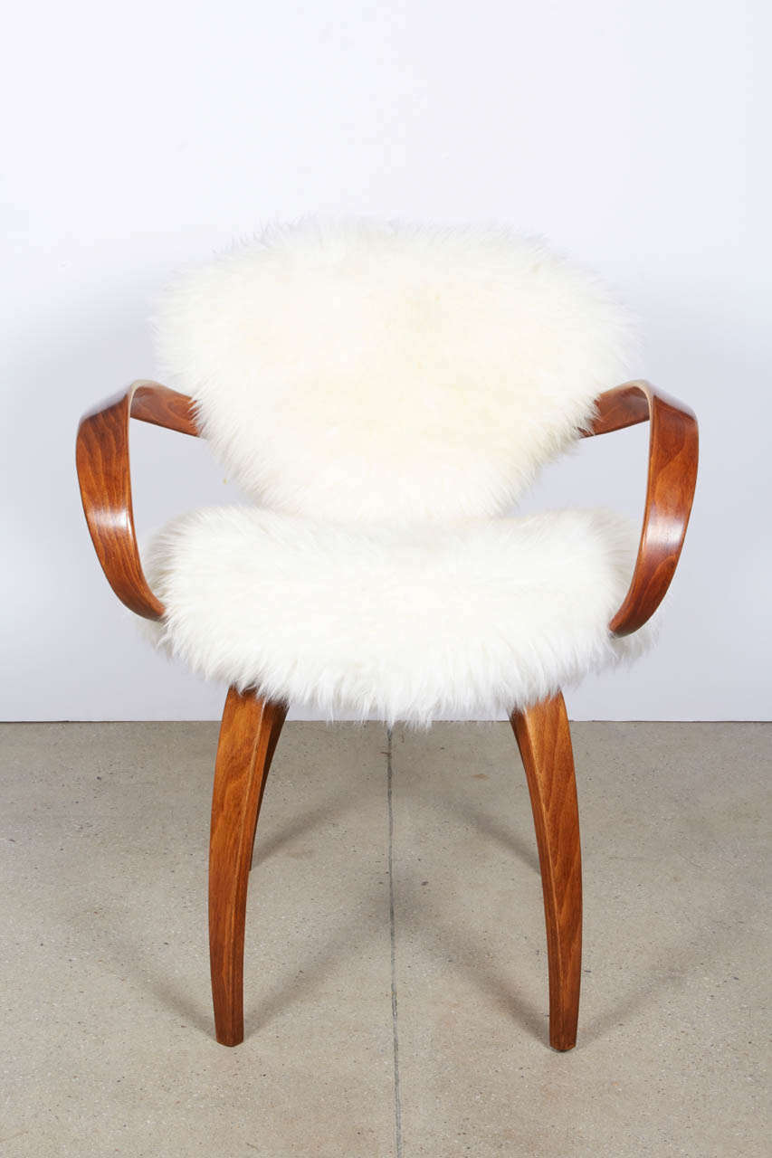original norman cherner chair for plycraft in silky argentine mongolian goat hide 2