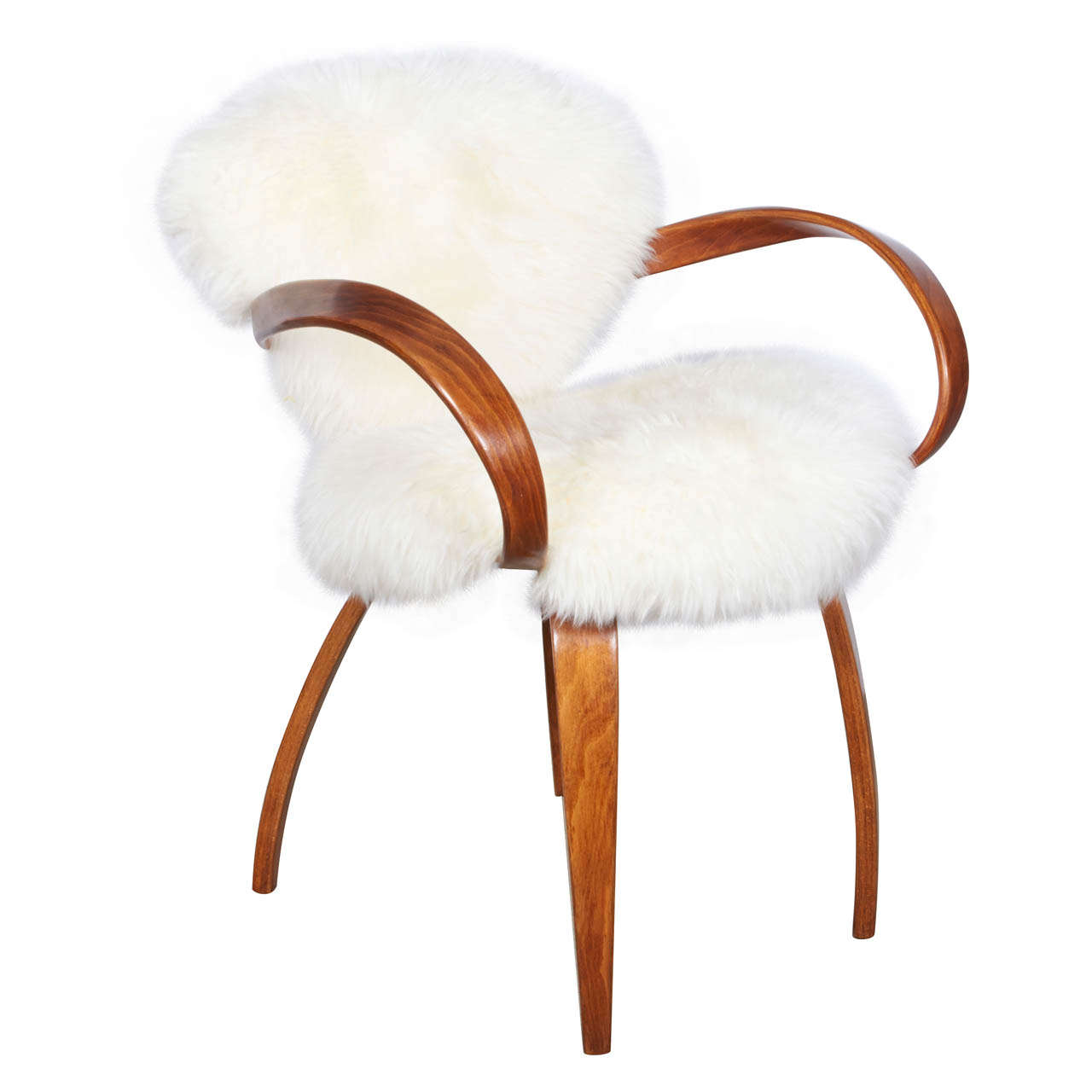 original norman cherner chair for plycraft in silky argentine mongolian goat hide 1