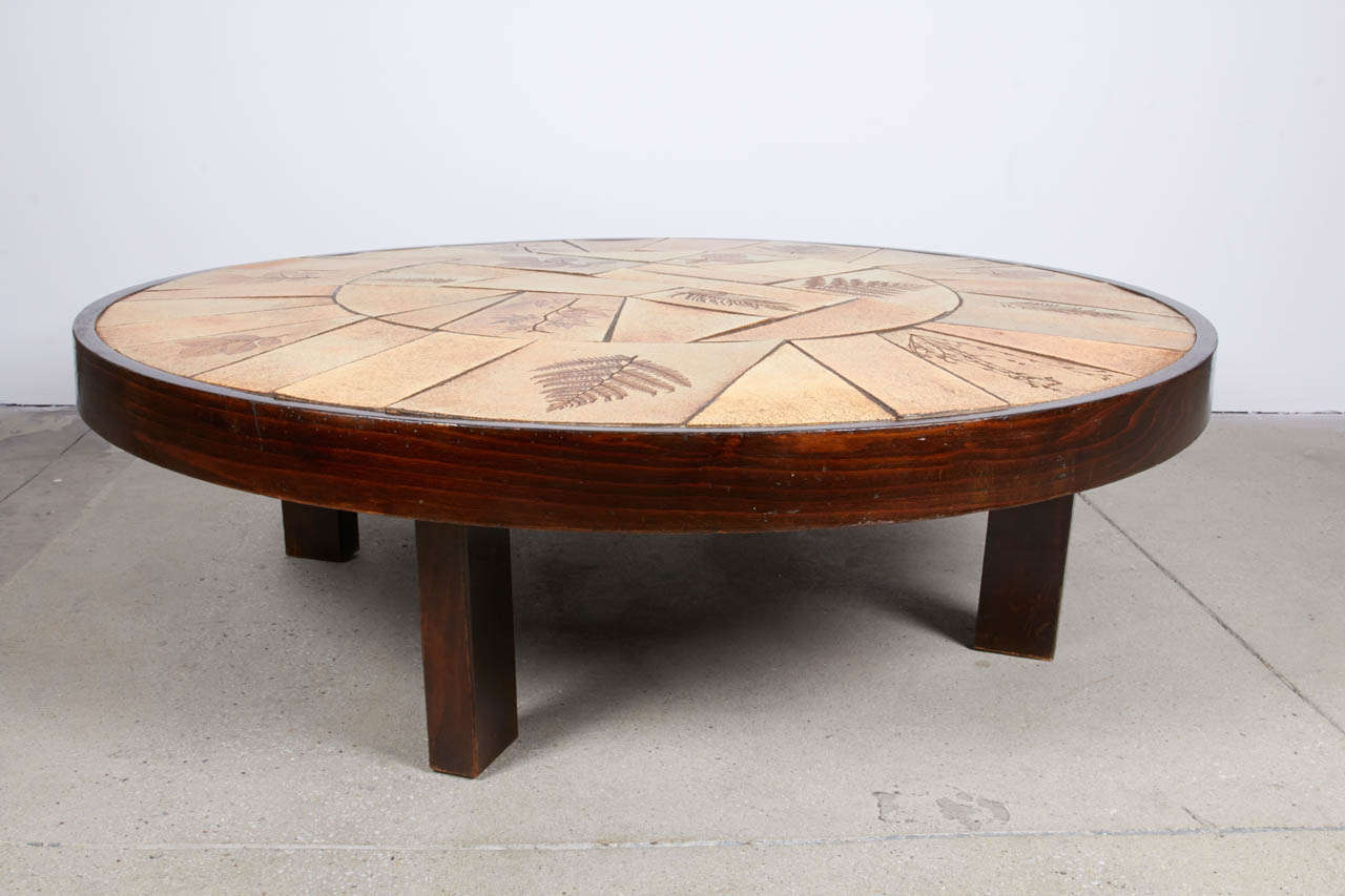 Botanical Tile Top Low Coffee Table By Vallauris At 1stdibs