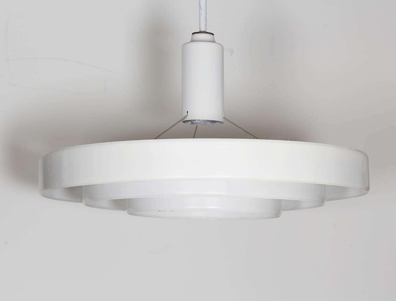 Minimalist White Three Tier Saucer Pendant Light Fixture By Prescolite