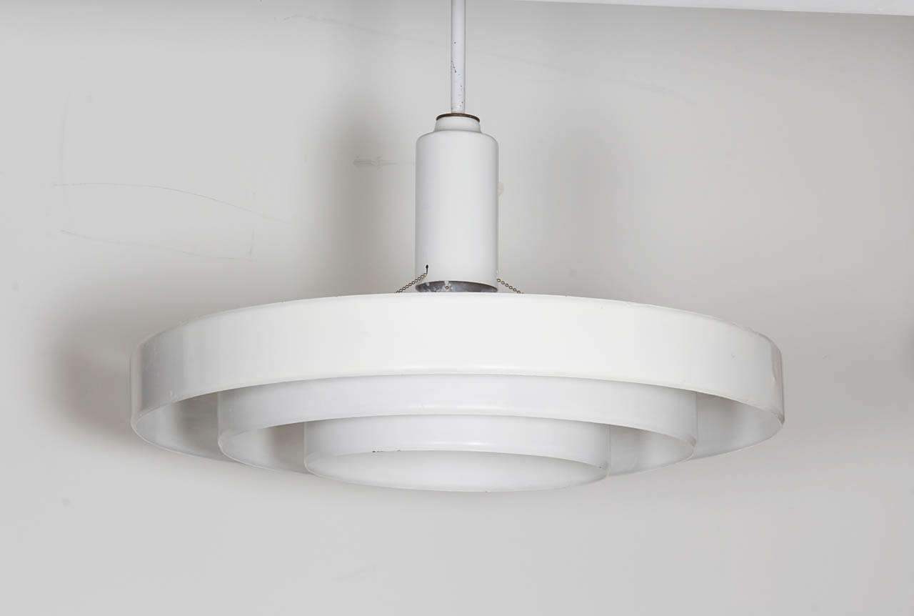 minimalist white three tier saucer pendant light fixture for sale at