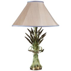 Single Brass and Green Painted Tole Wheat Sheaf Lamp