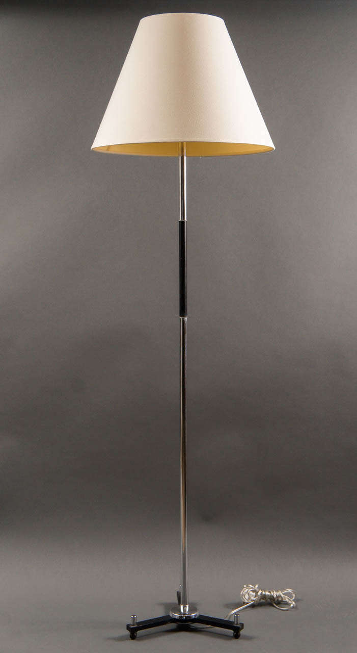 Modern Chrome And Ebonized Tripod Floor Lamp For Sale At