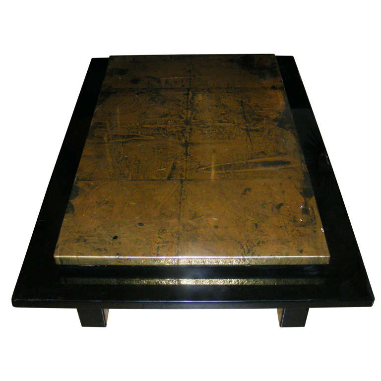 Black And Gold Laquered Coffee Table At 1stdibs