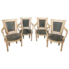 Set of Four French Directoire Style Arm Chairs