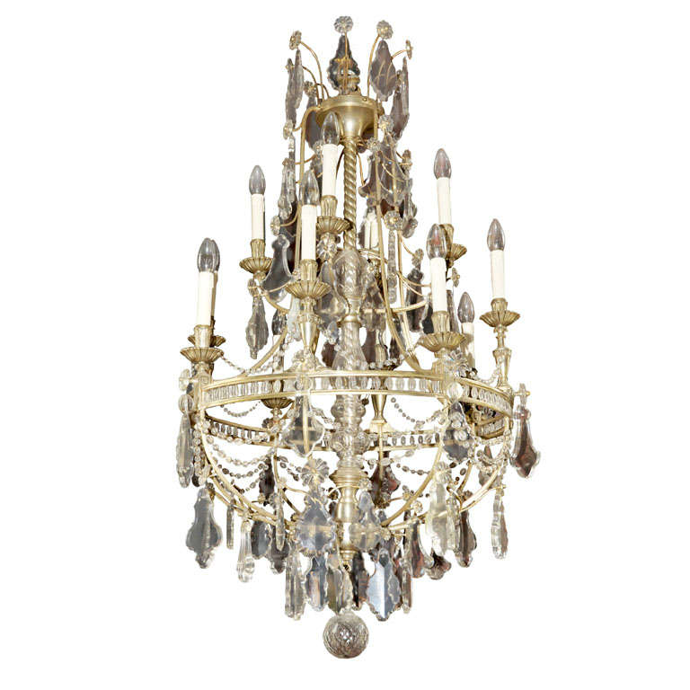 French Chandelier Silver Plated For Sale