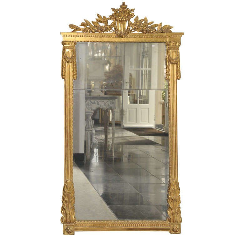 A large 18th century French Louis XVI giltwood mirror, circa 1780