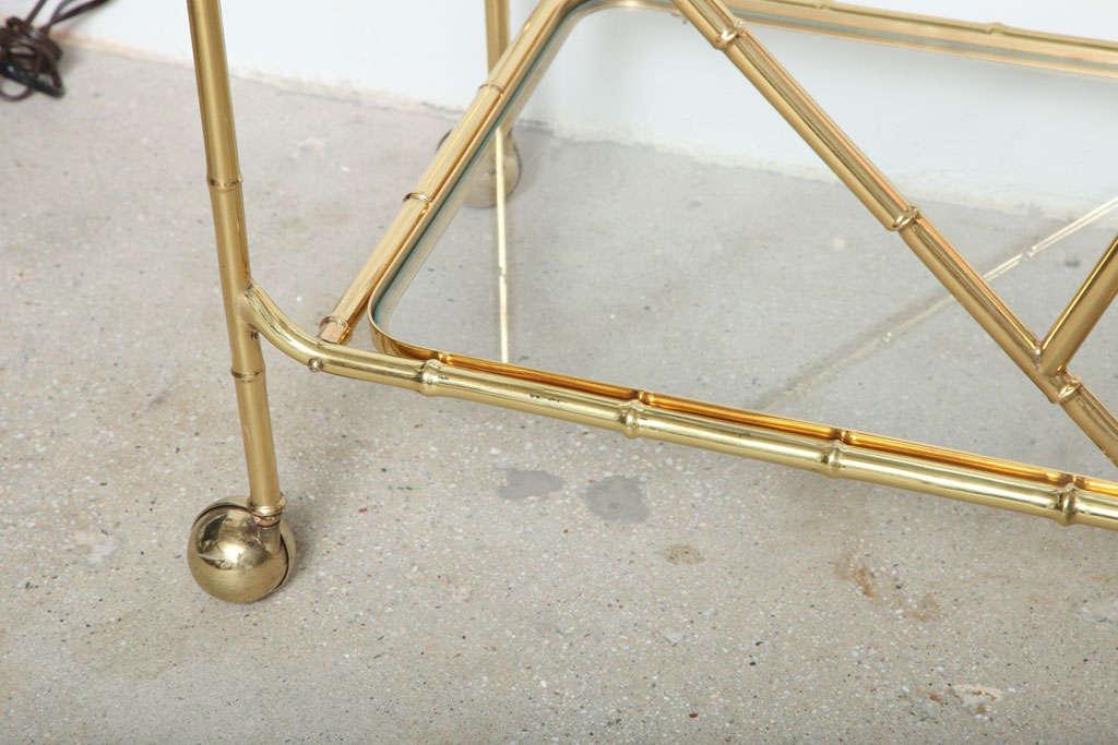 Brass Faux Bamboo Tea Cart