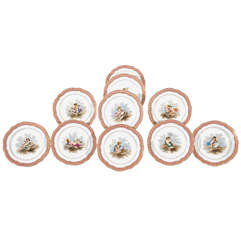 Set of 10 Choisy Sevres-Style Cabinet Plates With Putti